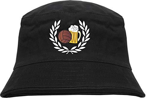 HB_Druck HB_Druck Lorbeerkranz Fussball Bier Fischerhut - Bucket Hat - Bestickt - S/M Schwarz