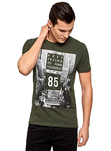 oodji Ultra Herren T-Shirt mit City-Print Schwarz (6929P)