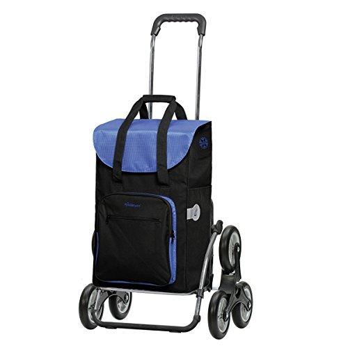 Andersen Einkaufstrolley Royal als Treppensteiger und 45 Liter Einkaufstasche Wismar schwarz/blau mit Kühlfach Einkaufswagen Stahlgestell klappbar