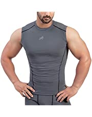 Redesign Mens Nylon Cutsleeves/Sleeveless Compression Top for Sports