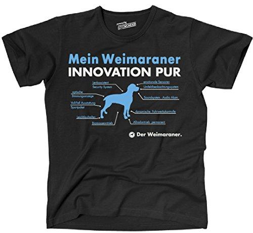 Siviwonder Unisex T-Shirt INNOVATION WEIMARANER TEILE LISTE Hunde lustig fun Schwarz