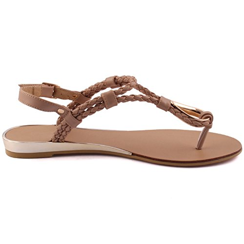 Unze New Women Conrad Braided Beach Party Rejoindre Carnival Casual Sandales Plates Chaussures Taille UK 3-8 Beige