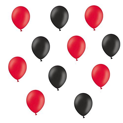 50 x Premium Luftballons je 25 Schwarz und Rot - ca. Ø 28cm - Ballons als Deko, Party, Fest, Halloween, Fasching Karneval Fußball - Farbe Rot & Schwarz - Heliumgeeignet - twist4®