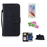 Samsung Galaxy S7 Case, JGNTJLS [New Style for SS/AW] [with Free Tempered Glass Screen Protector and Cleaning Paper] Simple, Stylish, Embossing-Pattern(Pure Candy-Colorful, Artificial-Wrinkle Design), Photos Frame Additional(Transparent HD Setting Slot),