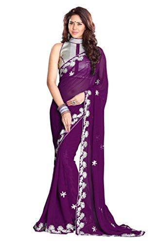 Mirchi Fashion Zari lavoro Faux Georgette Partito Tradizionale Indiano Saree
