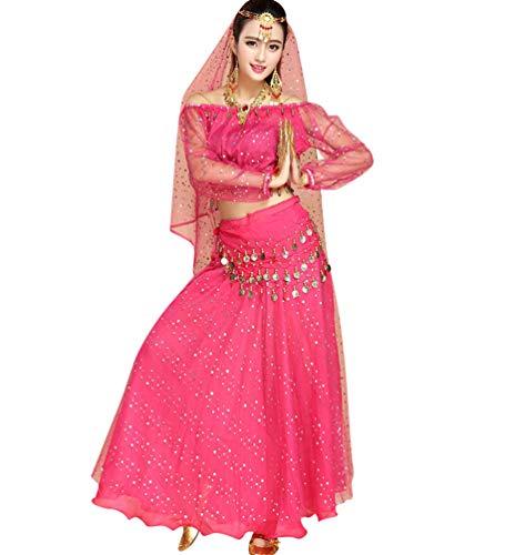 Tianbin le donne elegante danza del ventre orientale costumi set monete paillettes sciarpa cintura catena (rose#3, taglia unica)