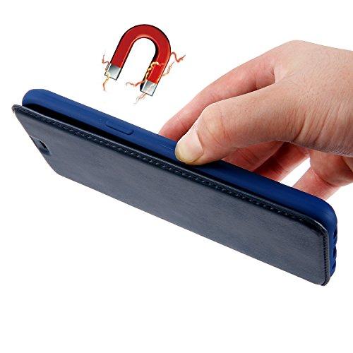Coque iPhone 7, Mobest Étui Housse en Cuir iPhone 7, Cozy hut PU Cuir Flip Magnétique Portefeuille Etui Housse de Protection Coque Étui Case Cover avec Stand Support Avec des Cartes de Crédit Slot et  Cuir bleu trésor