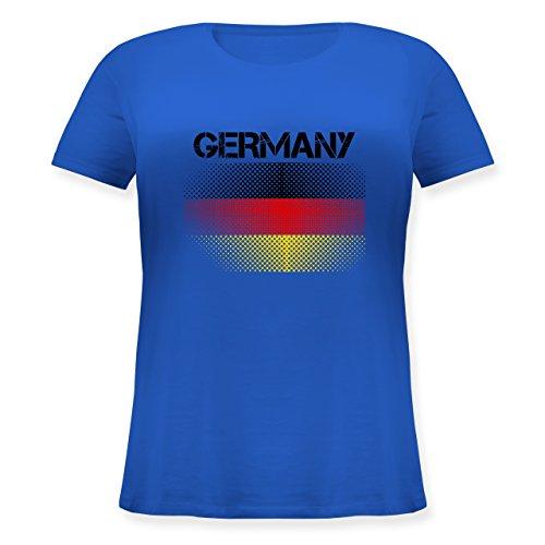 EM 2016 - Frankreich - Germany Flagge - Lockeres Damen-Shirt in großen Größen mit Rundhalsausschnitt Blau