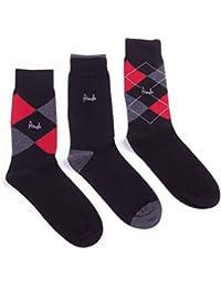 72a3ea7b10b Men s Cotton Rich Lycra Pringle 3 Pack Argyle Black Socks Size 7-11 UK 40