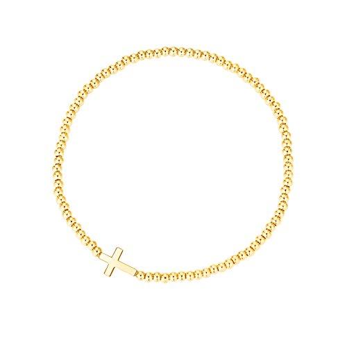 MetJakt Sleek 2,5 mm Elastische Perlen 18K Gold Plated Sterling Silber Classic Stretch Armband Verschiedene Anhänger (Kreuz, Gelb Vergoldet Sterling Silber)
