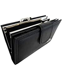 Ladies Real Leather Purse - Large Metal Clasped Coin Section - Separate 8 Debit or Credit Card Spaces Button Closure- 2 Bank Note Sections - Medium Size Purses - Photo Page - Black Leather - QL439K