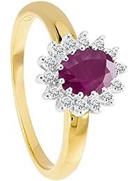 Bella Donna Damen- Ring 375 Weißgold 14 Diamanten ca. 0,10 ct. Weiß Piquè 1 Oval 7x5 mm