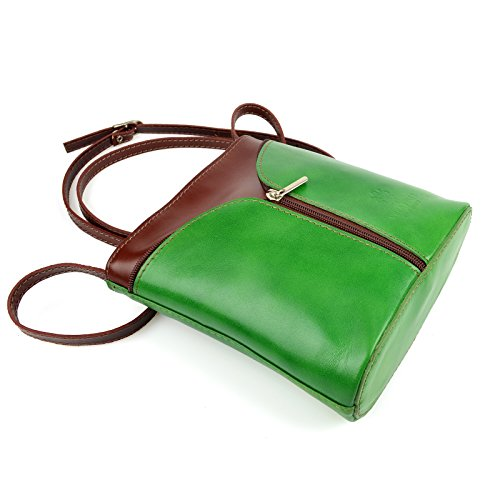 ae07b69f27608 Vera Pelle Handtaschen Italien Echt Leder Schultertasche Frauen Damen Tasche  Handtasche Ital Bag Grün Braun Plain