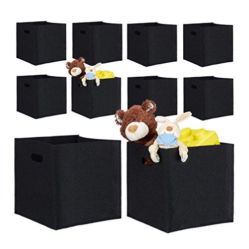 10er Set quadratische Filzkörbe, faltbar, mit 2 Trageöffnungen, schicke Regalkörbe, H x B x T: 30 x 30 x 30 cm (Schwarz)