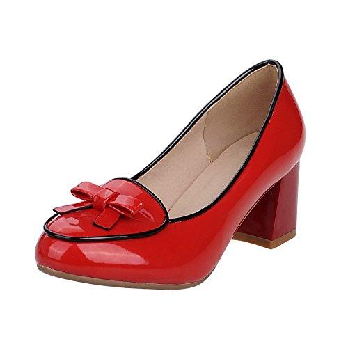 VogueZone009 Donna Tirare Tacco Medio Luccichio Colore Assortito Ballerine Rosso