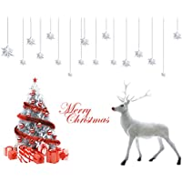 UniqueBella Decoración Navidad Pegatina Calcomanía de Ventana Vidrio Pared Puerta Vinilos Decorativos Autoadhesivo para Escaparate Tienda Hogar Moderno Árbol de Navidad Renos Navideños