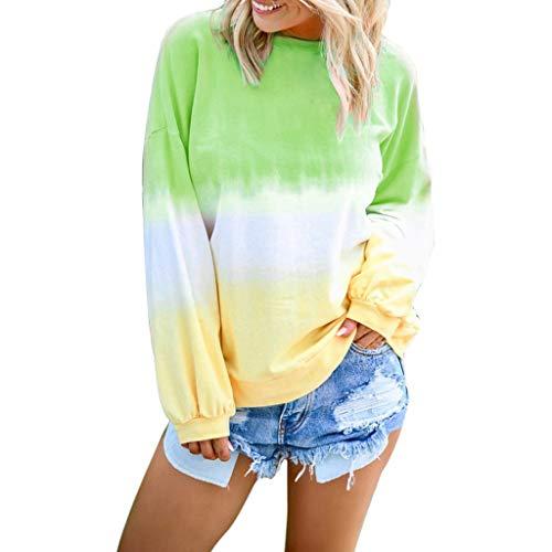 GOKOMO Pullover Frauen-T-Shirt mit Farbverlauf und Langen Ärmeln Shirt Top Frauen Casual O-Neck Farbverlauf Kontrastfarbe Langarm Top Pullover Sweatshirtir(Grün-1,XX-Large)