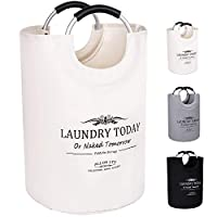 ALLON Collapsible Laundry Basket, 100% Cotton Canvas Large Laundry Hamper, Durable Laundry Bag Storage with Comfort Handles