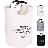 ALLON Collapsible Laundry Basket, 100% Cotton Canvas Large Laundry Hamper, Durable Laundry Bag Storage with Comfort Handles