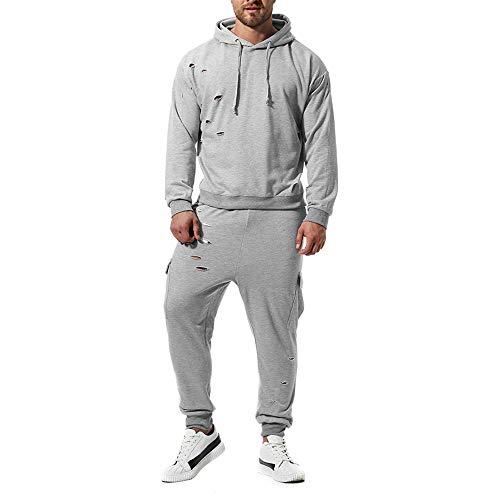 UJUNAOR Männer Sport Freizeitanzug Trainingsanzug Herrenpullover Casual Loch Personalisierte Sexy Top Hosen Sets(Grau,EU L/CN XL)