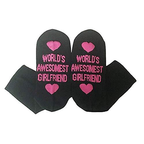 Womdee divertente lettere, mondi awesomest fidanzati lettera stampa cotone casual calzini del tubo calze pantofola calze harajuku girlfriend, black