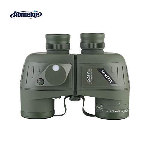 Aomekie AO3015 10X50 Top Grade Floating Marine Binoculars with Internal Rangefinder and Compass Military Waterproof Binoculars- Army Green for Navigation,Boating,Fishing,Water Sports,Hunting