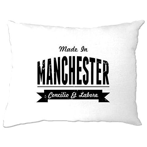 Made in Manchester Fußball-Stolz-Museum Heaton John Distressed Kissenbezuge (Manchester Zu Weihnachten)