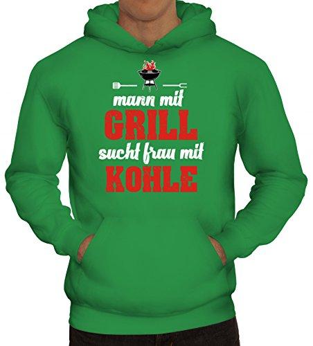 Grillen Grill Garten Party Herren Hoodie Männer Kapuzenpullover Mann mit Grill sucht Frau mit Kohle, Größe: 3XL,Kelly Green