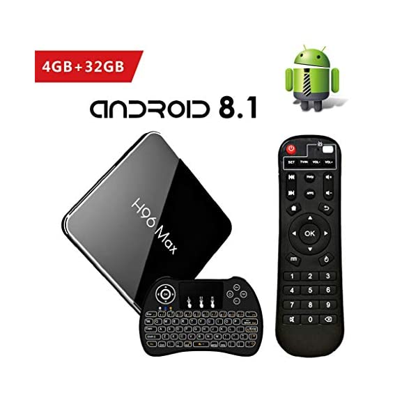 Android-81-Smart-TV-Box-4GB32GB-H96-MAX-Botier-TV-Amlogic-S905X2-Quad-Core-Set-Top-Box-Support-4K-Ultra-HD-24G5G-WiFi-100M-LAN-H265-Bluetooth-40-3D-avec-Clavier-Rtroclair-Sans-Fil