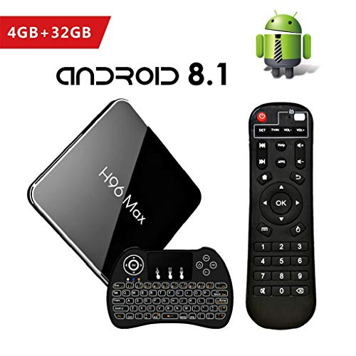 Android 8.1 Smart TV Box, 4GB+32GB H96 MAX Boîtier TV Amlogic S905X2 Quad Core