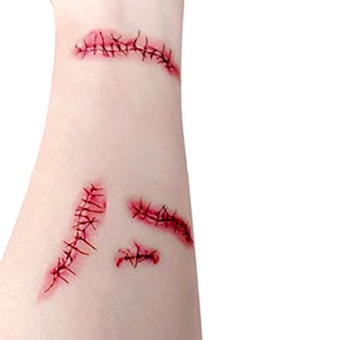 Gaddrt 1pc Horror Bloody Scar Tattoo Halloween Accessory, Haunted Simulation House Party Decoration