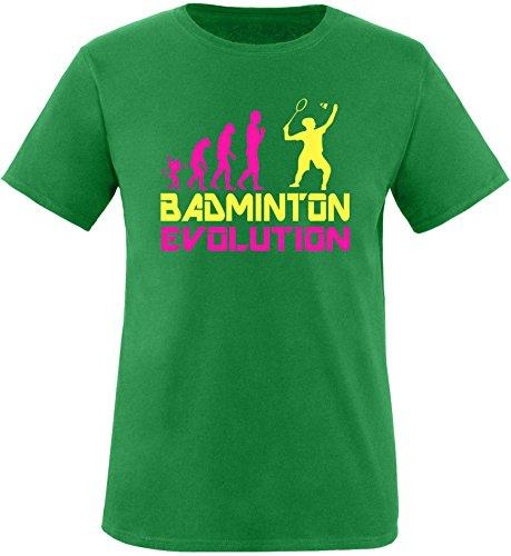 EZYshirt® Badminton Evolution Herren Rundhals T-Shirt Grün/Pink/Gelb