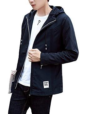 Hombre Chaqueta Abrigo de Manga larga Abrigo casual Chaqueta con capucha Slim Fit S Azul oscuro
