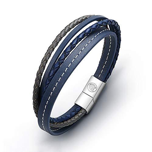 Lederarmband Herren Armband Herren Männer Leder Edelstahl - Casisto.J Mit Gravur Schwarz Braun Geflochten mit Magnet Verschluss (22cm) (A-Blue, 19)