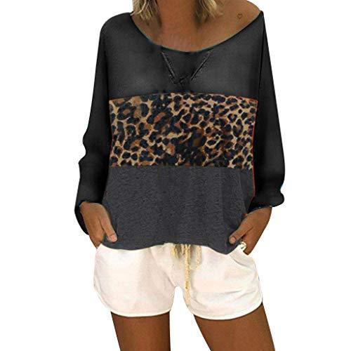 kolila Damen Oberteile Tops Plus Size Lose Rundhals Beiläufige Langarm Farbblock Patchwork Shirts Blusen Pullover Tunika (1920 1980 Kostüm)