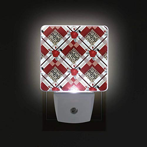 DFISKK Nachtlicht Valentine's Day Rose Lattice Plaid 2 Pack 0.5W Plug-in LED Night Light Lamp with Dusk to Dawn Sensor, Night Home Decor Bed Lamp Rose Lattice