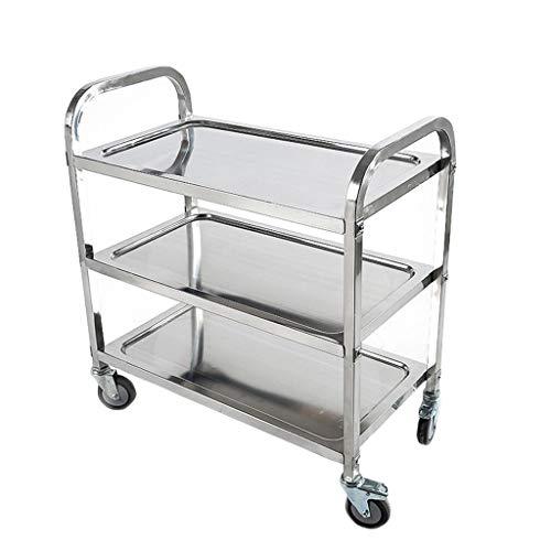 Npz * scaffale - carrello per auto a tre livelli di consegna in acciaio inox carrello per auto da tavolo mobile collezione multi-funzione carrello di stoccaggio (size : 75 * 40 * 83cm)