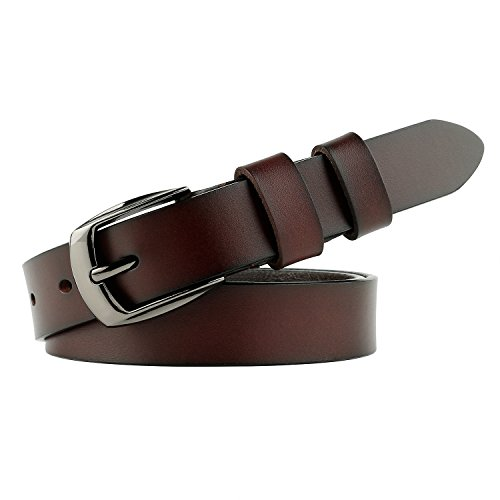 JasGood Women's Genuine Skinny Leather Belt With Exquisite Alloy Buckle