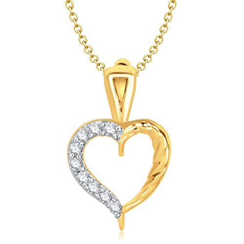 Vina Fashion Jewellery Valentine Heart Collection Gold Brass Alloy Cz American Diamond Pendant for Women Vkp1160Ga  available at amazon for Rs.132