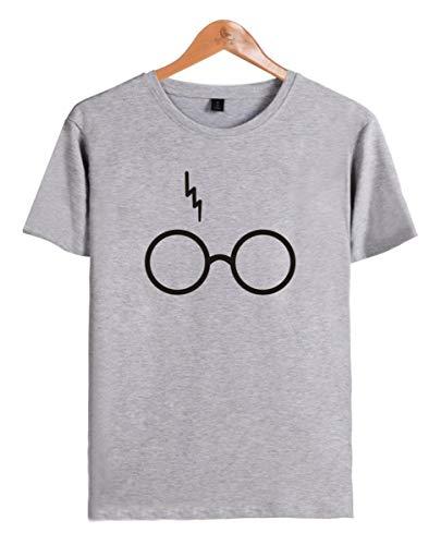 SIMYJOY Pärchen Harry Potter T-Shirt Lightning Scar Geek Glasses Pullover Cool Rundhals Kurzarm Tops für Liebespaar Männer Damen Teenager Jugendliche graues M