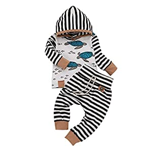 Kanlin Bebé ReciéN Nacido NiñA NiñO con Capucha Camiseta Tops Pantalones De Rayas De Plumas Conjunto De Ropa 6