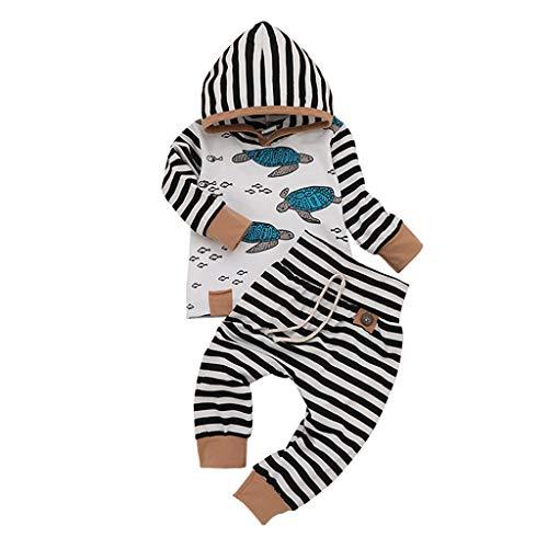 Allence Neugeborenes Baby Jungen Mädchen Gestreift Hoodie T Shirt Tops + Hosen 2 Pcs Lustiges Kleidungsset -