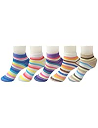 ayushicreationa Premium Cotton Multicolored Striped Ankle Length Socks for women - Pack of 5