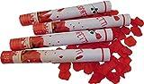 GW Handels UG 4er Set Konfettikanonen Rosenblätter Rot 40 cm Party Popper Konfettishooter Feuerwerk Kanone Konfettiregen Partykanonen Hochzeit