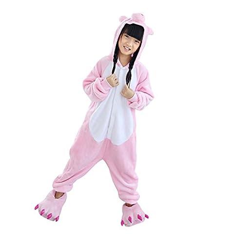 Hstyle Filles Enfants Pyjamas Cartoon Cosplay Vêtements Salopette Homewear Rose Cochon