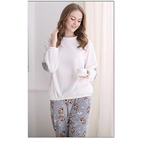 GJX Hombre y mujer los amantes largo manga franela pijamas otoño invierno Coral polar casa servicio de