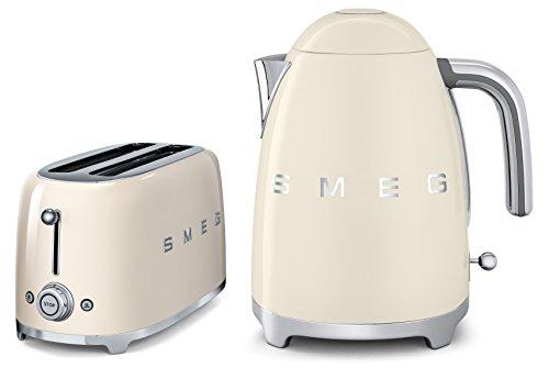 Smeg TSF02CRUK KLF01CRUK   50s Retro Style 4 Slice Toaster & Kettle Set in Cream