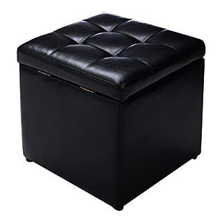 FDS Faux Leather Folding Ottoman Pouffe Storage Single Seat Toy Box Foot Stool (2 colours) (Black)