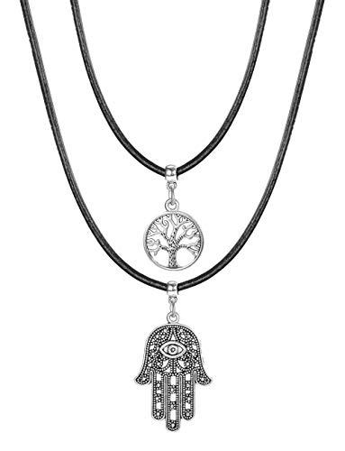 BE STEEL 2 STÜCKE Echtes Leder Halskette Für Damen Mädchen Lebensbaum Anhänger Halskette Hand der Fatima Kette Nazar Auge Einstellbar