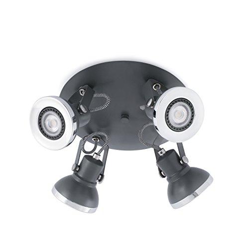 RING es una colección de lámparas de diseño de Manel Lluscà. Está formada por focos multiarticulados, a los que se añaden un plafón y un proyector de carril en tres acabados diferentes. Este plafón gris con tecnología LED está fabricado en metal. La ...